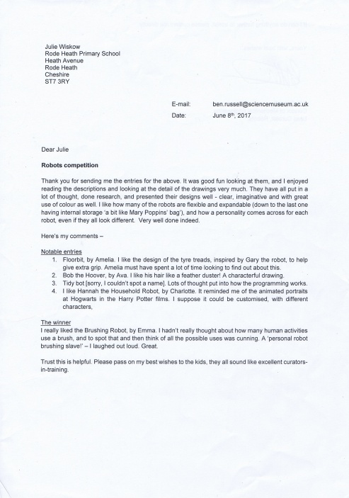 Letter from Science Musuem pg1